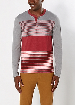 Burgundy Striped Yoke Henley