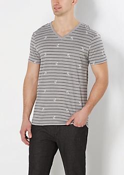 Gray Striped Anchor V-Neck Tee