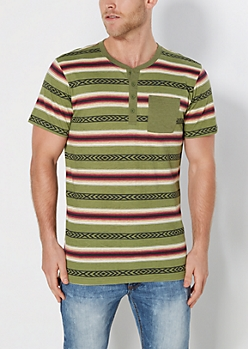 Olive Aztec Striped Long Length Henley Tee