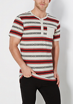 Red Aztec Striped Long Length Henley Tee