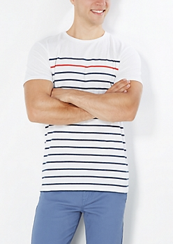 Red Pop Striped Front Tee