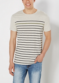 Oatmeal Heather Striped Front Tee