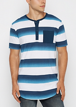Blue Ombre Rugby Striped Henley Tee