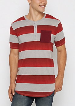 Burgundy Ombre Rugby Striped Henley Tee