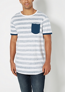 Navy Reverse Striped Long Length Tee