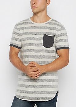 Gray Reverse Striped Long Length Tee