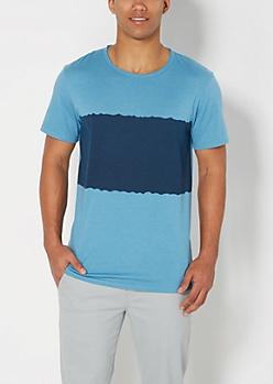 Blue Tie Dye Blocked Raw Edge Tee