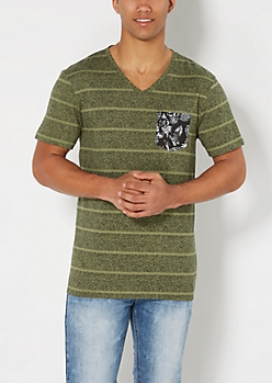 Olive Speckled Raw Edge V-Neck Tee