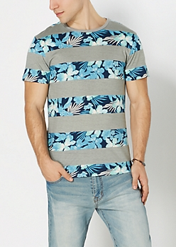 Mint Green Hibiscus Striped Tee