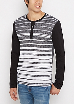 Black Speckled Stripe Henley Top
