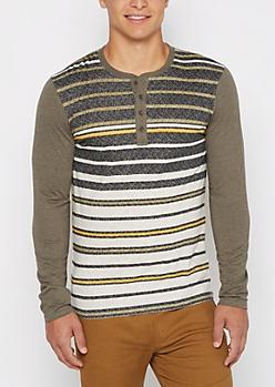 Olive Speckled Stripe Henley Top