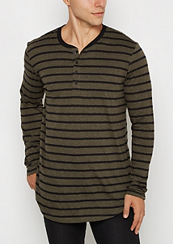 Olive Striped Long Length Henley Top
