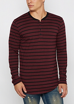 Burgundy Striped Long Length Henley Top