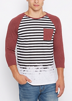 Faded Striped Baseball Tee