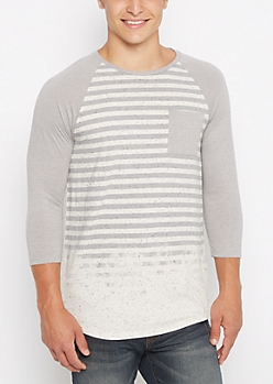 Faded Stripe Long Length Baseball Tee