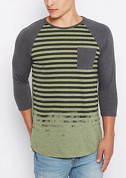 Olive Faded Stripe Long Length Baseball Tee