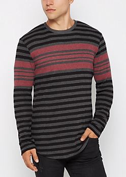 Burgundy Striped Thermal Long Length Top