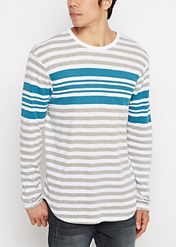 Teal Striped Thermal Long Length Top