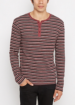 Burgundy Striped Henley Thermal Shirt