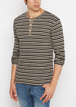 Olive Striped Henley Thermal Shirt
