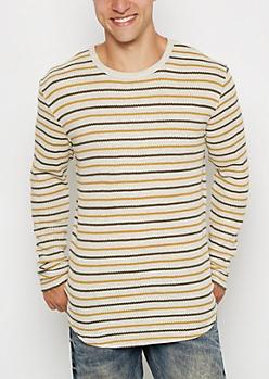 Mustard Striped Thermal Long Length Top