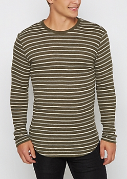 Green Striped Thermal Long Length Top