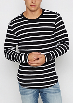 Black Striped Thermal Long Length Top