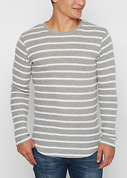 Gray Striped Thermal Long Length Top