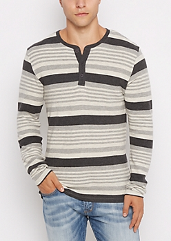 Black Mixed Stripe Thermal Henley Top
