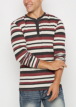 Burgundy Mixed Stripe Thermal Henley Top