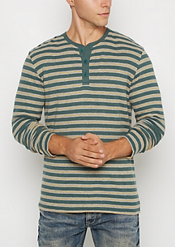 Green Mixed Stripe Thermal Henley Top