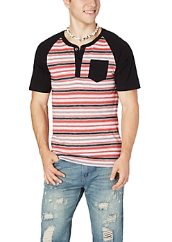 Red Striped Baseball Henley Tee