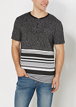 Black Speckled & Striped Henley Tee