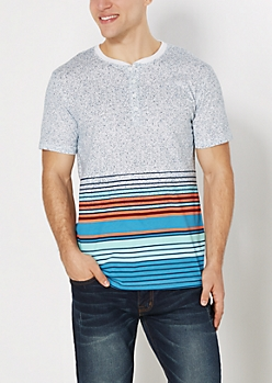 Blue Speckled & Striped Henley Tee