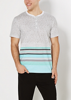 Gray Speckled & Striped Henley Tee