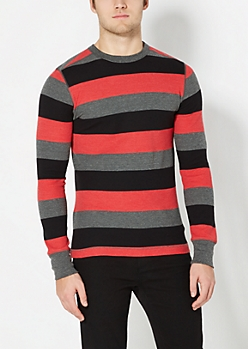 Red Wide Striped Thermal Top