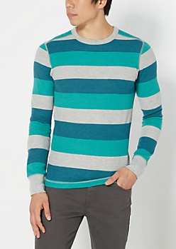 Green Wide Striped Thermal Top