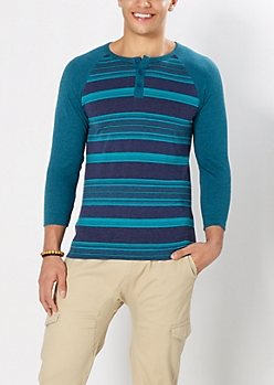 Heathered & Striped Baseball Henley Top