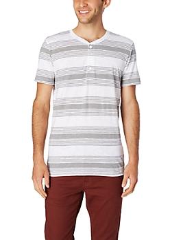 Striped Slub Knit Henley Tee