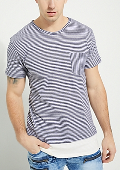 Navy Striped Double Layer Single Pocket Knit Tee