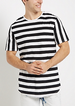 Striped Long Length Essential Tee