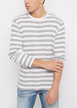 White Striped Waffle Knit Shirt