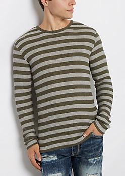 Olive Striped Waffle Knit Shirt