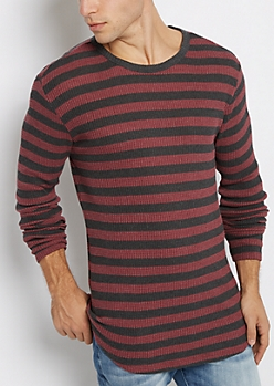 Burgundy Striped Long Length Thermal Top
