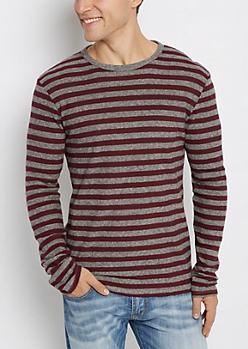 Burgundy & Gray Thermal Shirt