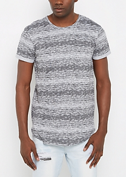 Gray Space Dye Long Length Tee
