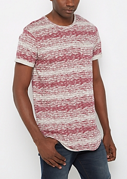 Burgundy Space Dye Long Length Tee