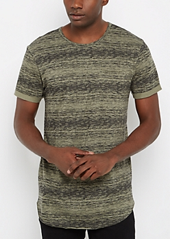 Olive Space Dye Long Length Tee