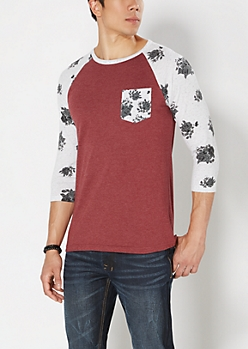 Rose Burgundy Baseball Tee