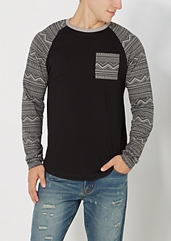 Black Geo Tribal Baseball Tee
